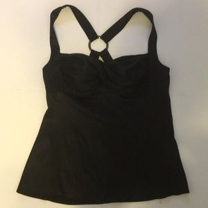 BeBe Black Sexy SILK top Sz Large Sleeveless